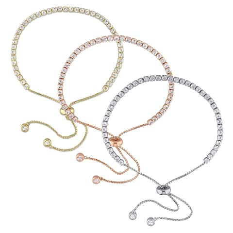 Miadora Tri-Color Sterling Silver White Topaz 3-Piece Adjustable Tennis Bolo Bracelet Set