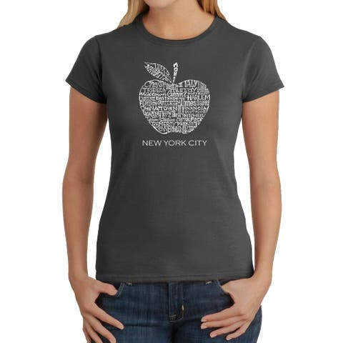 Women's Word Art T-Shirt - Neighborhoods in NYC