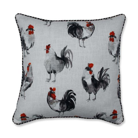 Pillow Perfect Rooster Linen 18-inch Throw Pillow