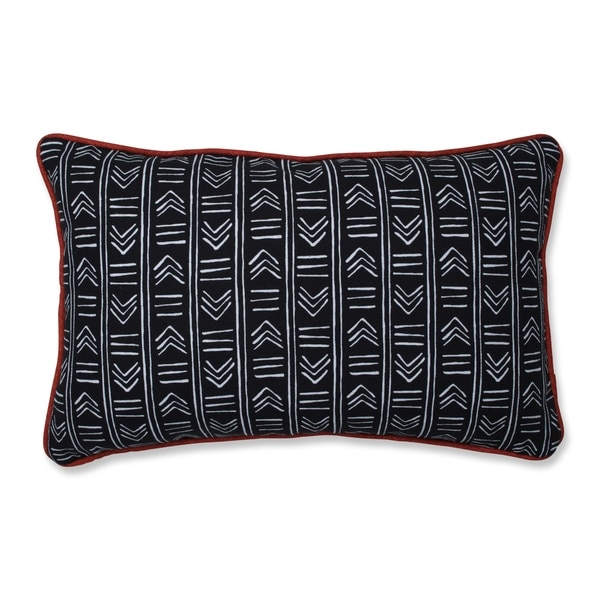 Pillow Perfect Bowery Ebony/Domino Rectangular Throw Pillow