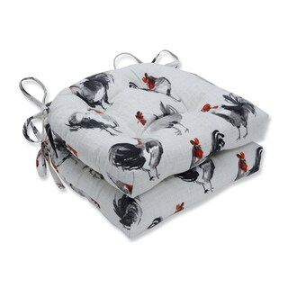 Pillow Perfect Rooster Linen Reversible Chair Pad (Set of 2)
