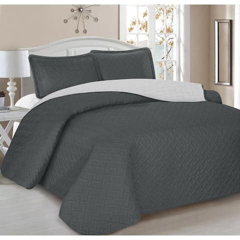 Home Sweet Home 3-Piece Embroidery Reversible Quilt Set