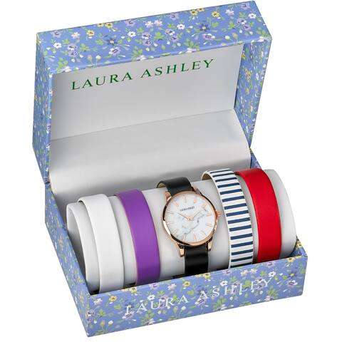 Laura Ashley Womens LASS1105RG Rose Gold Case Solid Strap Watch Set Interchangeable Straps
