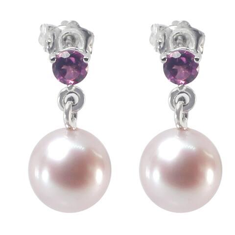 Michael Valitutti 10K White Gold Pink Pearl & Pink Tourmaline Stud Earrings