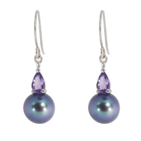Michael Valitutti 14K White Gold Black Pearl, Amethyst & Diamond Earrings