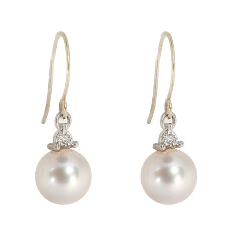 Michael Valitutti 14K Yellow Gold Pink Pearl & Diamond Earrings