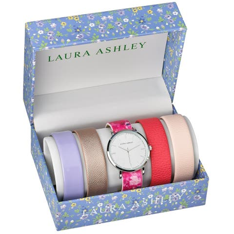 Laura Ashley Womens LASS1101SS Silver Case Floral Strap Watch Set Interchangeable Straps