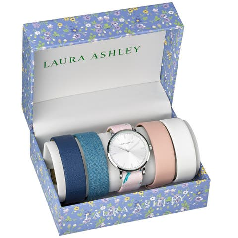 Laura Ashley Womens LASS1102SS Silver Mirror Dial Case Floral Strap Watch Set Interchangeable Straps