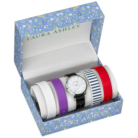 Laura Ashley Womens LASS1105SS Silver Case Solid Strap Watch Set Interchangeable Straps