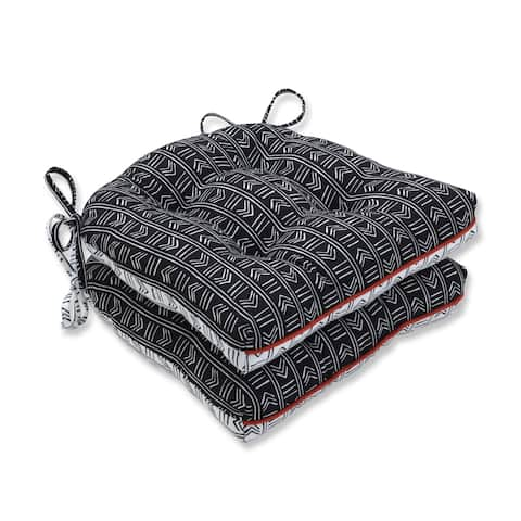 Pillow Perfect Bowery Ebony/Domino Reversible Chair Pad (Set of 2)