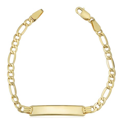 14k Yellow Gold Figaro Baby ID Bracelet (5.5 inches) - 5.5 inches