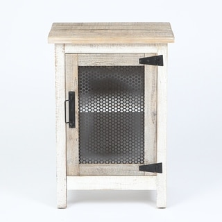 Rustic White Storage End Table
