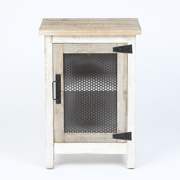Shop Rustic White Storage End Table