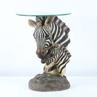 Black/White Glass/Resin Zebra Tea Table
