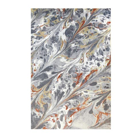 Colorfields Caldera Grey Digitally Printed Rectangle Area Rug - 7'6 x 9'6