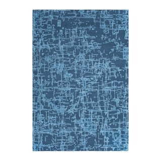 Colorfields Crosshatch Slate Blue Cut and Loop Pile Handmade Rectangular Area Rug - 5'6 x 8'6
