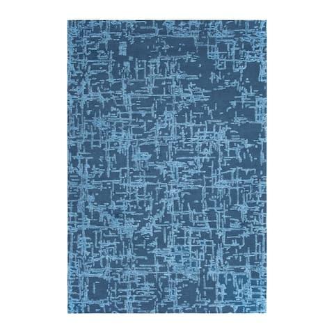 "Colorfields Crosshatch Slate Blue Handmade Cut and Loop Pile Rectangle Area Rug - 7'6 x 9'6 - 7'6"" x 9'6"""