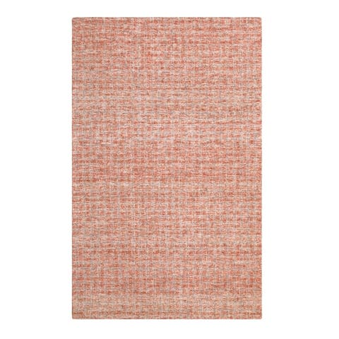 Colorfields Tattersall Red Wool Handmade Rectangle Area Rug - 5'6 x 8'6