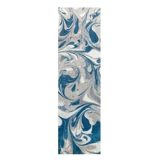 Colorfields Arctic Circle Blue Mist Digitally Printed Rectangle Runner Rug - 2'3 x 8'