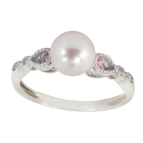 Michael Valitutti 10K White Gold Pink Pearl, Pink Sapphire & Diamond Ring