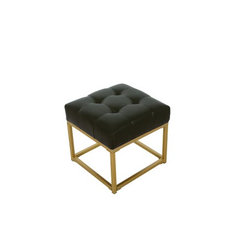 HomePop Tufted Black Faux Leather Ottoman