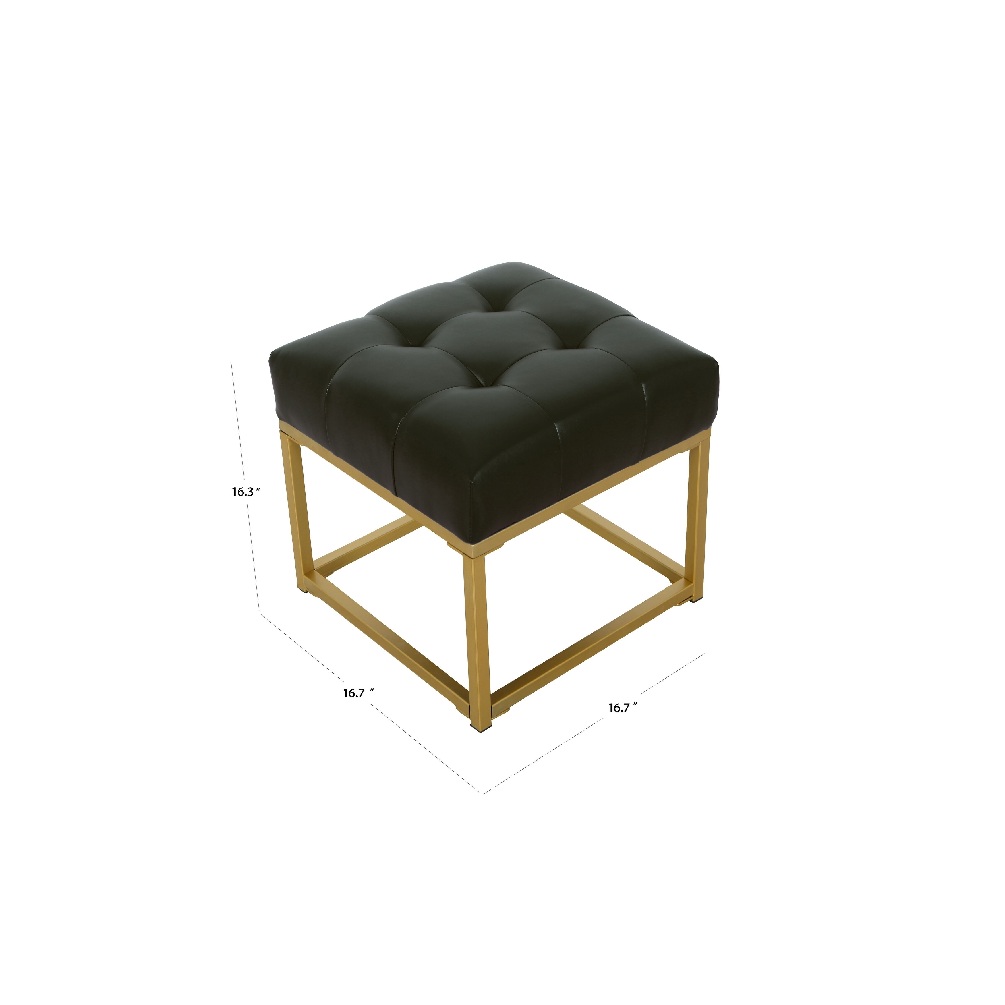 Swell Homepop Tufted Black Faux Leather Ottoman Bralicious Painted Fabric Chair Ideas Braliciousco