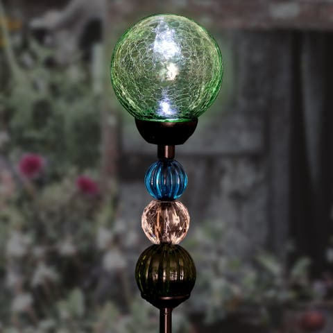 Solar Crackle Glass Ball with 3 Beads with 6 LEDs Garden Stake