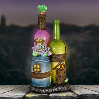 Solar Wine Bottles with Succulents Fairy House - Purple and Green