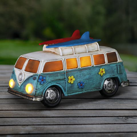Solar Retro VW Bus Statue