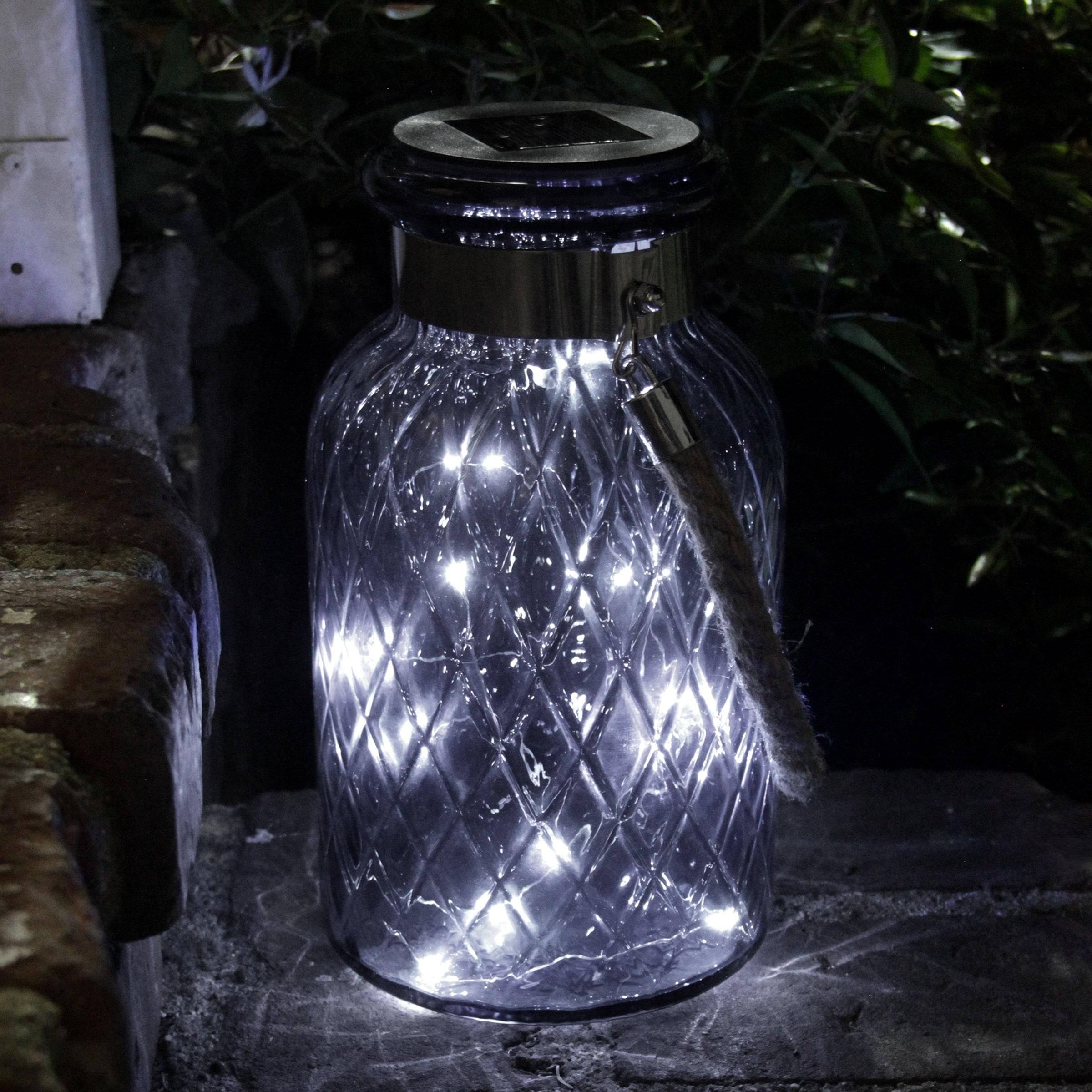 Solar Crackle Glass Lantern LED Automatic Rope Handle Decorative Lighting