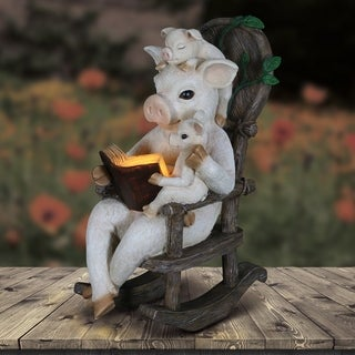 12 Inch Solar Pig Reading Story in Rocking Chair