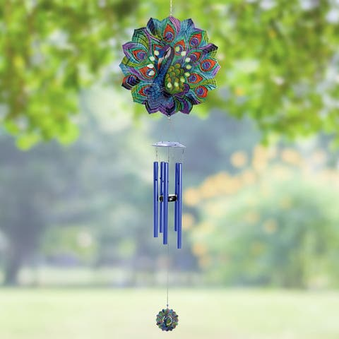 10 inch Art-In-Motion Laser Cut Metal Spinner Wind Chime with Beads