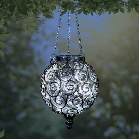 Round Solar Glass Hanging Lantern