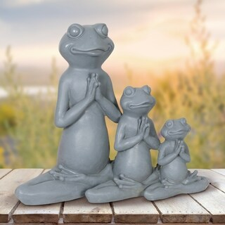 Three Yoga Frogs in Lotus Pose