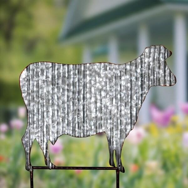Shop Corrugated Metal Cow Garden Stake