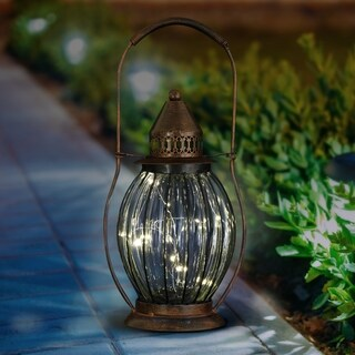 Solar Antique Metal and Glass Accent Lantern w 12 Firefly LEDs
