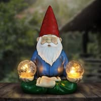 Solar Gnome Holding Two Crackle Balls