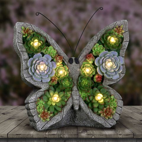 Solar Butterfly Succulent Marquee Sign