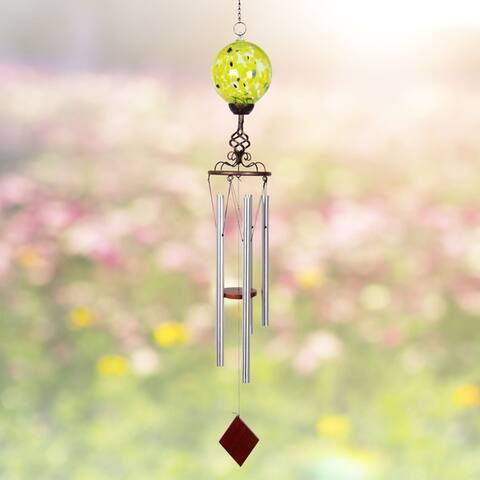Solar Glass Ball w/Metal Finial Wind Chime
