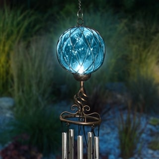 Solar Caged Glass and Metal Wind Chime