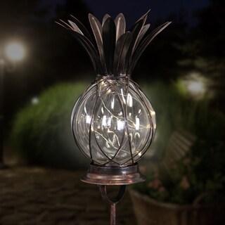 Bronze Solar LED Firefly Garden Stake/Lantern Pineapple