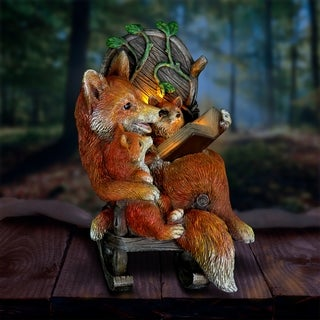 12 Inch Solar Foxes Reading Story in Rocking Chair
