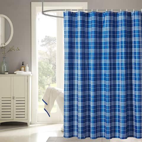 Harper Lane Payton Blue Plaid 13-piece Shower Curtain Set