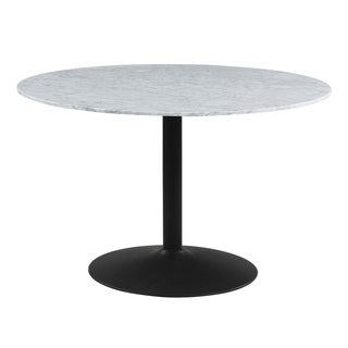 Harrisen Black and White Marble Round Dining Table