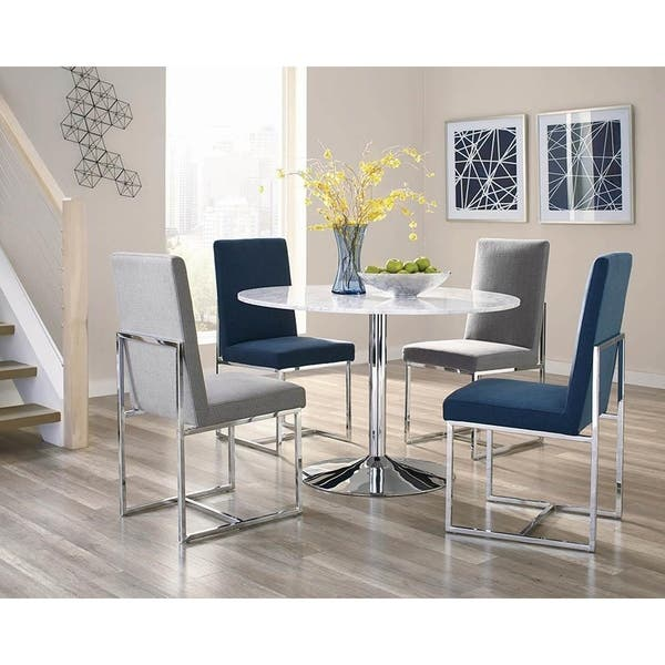 Valencia Chrome And White Marble Round Dining Table