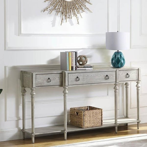 Copper Grove Pokrov Weathered Wooden 3-drawer Accent Table