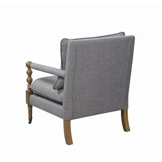 Shop Isabella Contemporary Grey Wood Fabric Wingback