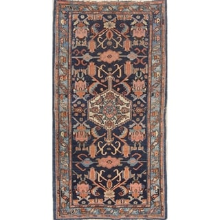 "Antique Malayer Geometric Hand-Knotted Wool Persian Oriental Rug - 6'5"" x 3'5"" Runner"