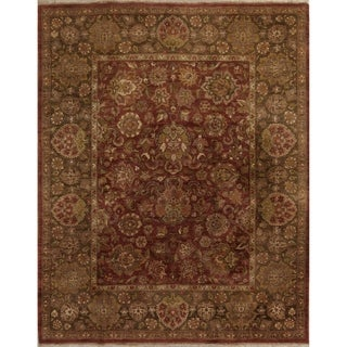 "Agra All-Over Floral Hand-Knotted Wool Indian Oriental Area Rug - 9'10"" x 7'11"""