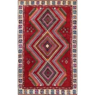 "Vintage Lori Geometric Hand-Knotted Wool Persian Oriental Rug - 7'9"" x 4'2"" Runner"